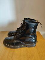 Dr Martens Black Patent Leather ankle Boots 1460W UK 8 EU 42 RRP£130 8 Hole