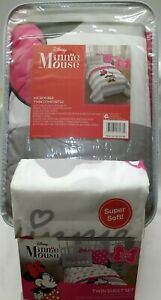 Minnie Mouse Disney Twin Reversible Comforter and Twin Sheet set - Complete Bed