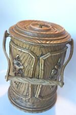VINTAGE PLASTIC ICE BUCKET WITH FAUX WOOD GRAIN/FLORAL ACCENT