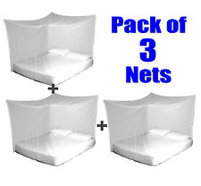 3x TravelMAX Mosquito Nets Double Queen King Size Box Insect Netting Treated
