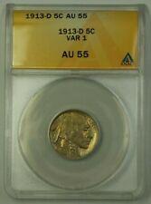 1913-D US Buffalo Nickel 5c Coin VAR 1 ANACS AU-55