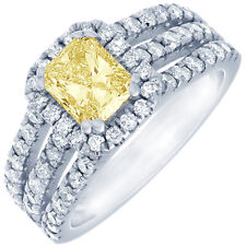 Fancy Yellow 2.20 CTW Radiant Cut Diamond Engagement Ring GIA Certified 18k Gold