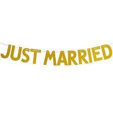 Just Married Shower Glitter Wedding Banner Bunting Hen Night Party Decoration