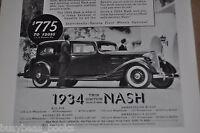 1934 NASH Ambassador Eight advertisement, Nash Motors Vintage Auto ad