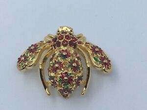 Joan Rivers Red Poinsettia Bee Pin