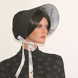 Schwarze Haube, Victorian Bonnet, Viktorianische Haube Biedermeier Steampunk