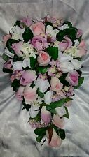Purple and Pink wedding flowers 24pc set. Cascade bouquet