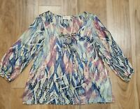 EVERLY Size Small Top Womens Lace Tie Up  3/4 sleeve Boho Peasant Blouse Shirt