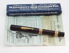 Vintage WATERMAN 18 Fountain Pen BCHR XL EYEDROPPER #8 Flex NIB Gold Bands Box