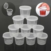 100 Kunststoff Sauce Tassen Lebensmittel Lagerbehälter Klare Boxen + Deckel C8K5