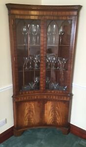 Bevan Funnell Reprodux Flamed Mahogany Concave Display Cabinet