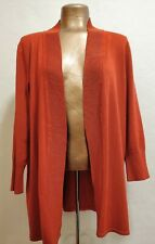 Fall Cardigan - Laura Ashley -Womens Lg - Long Open Front Burnt Orange-Fine Knit