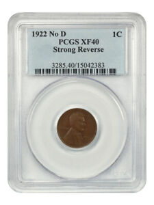 1922 no D Strong Reverse 1c PCGS XF40 - Affordable Key Variety - Lincoln Cent