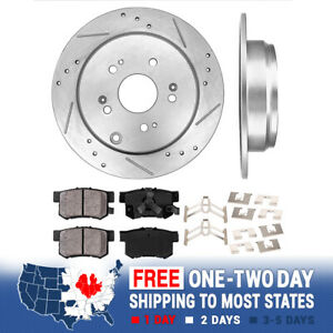 Rear Drilled And Slotted Brake Rotors & Ceramic Pads For Acura RDX Honda CR-V