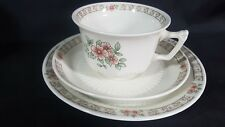 Adams Pottery White Roseway Trio Cup Saucer and Plate