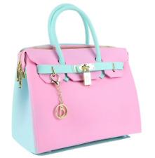 Matte Pink & Tiffany Blue Purse Waterproof Beach Bag BLK Vegan Bag Purse Handbag