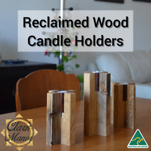 Reclaimed Wood Standup Candle Holders Set Home Decor Table Centerpiece Recycled