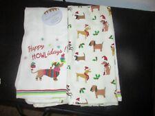 Dachshund Dog Arctic Christmas Holiday Santa Present Kitchen Dish Towel NWT