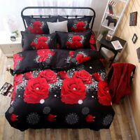 4Pcs 3D Rose Duvet Quilt Cover Pillowcase Bed Sheet Bedding set For Queen Size
