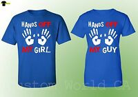 His and Hers Couple Matching Shirts - Hands Off My Guy Girl Love Matching -Royal