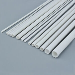 ABS Plastic Tube White Round Hollow Pipe 250mm x 3/4/5/6/8/10mm DIY Model Crafts