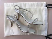 NEW! DUNE 'Marion' Ivory Satin Diamante Barely There Heeled Wedding Shoes UK 5