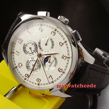 44mm parnis white dial day date Moon Phase multifunction automatic mens watch 18