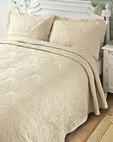 Luxury Hotel Quality Damask Lace Jacquard Quilted Bedspread Set Bed Throw Cover