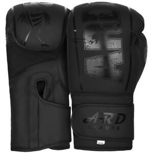 ARD Xlite Black Matte Finish Gel Boxing Training MMA Muay Thai & punching Gloves