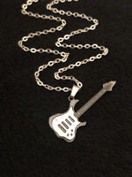 "ELECTRIC GUITAR PENDANT NECKLACE 24"" Chain Silver Music Rock Punk Metal Musician"