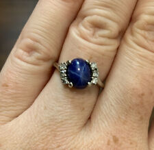 14k Natural Star Sapphire and Diamond Ring