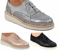 Ladies Brogue Lace Up Shoes Womens Oxford Smart Office Loafers Shoes