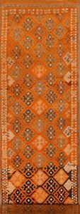 Vintage All-Over Hand-Knotted Moroccan Oriental Runner Rug Long Wool Carpet 3x14