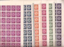 Israel 1952 Third Coins Tete-Beche Full Sheets Scott 38/59  Bale 42ab-63ab