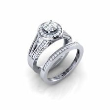 Certified 2.30Ct Round Cut White Sapphire 14K White Gold Engagement Bridal Ring