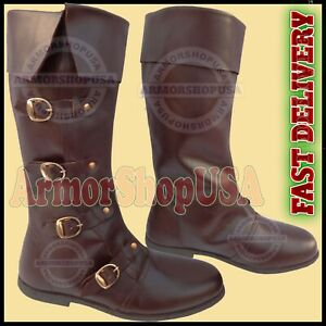 Medieval Leather Boots Brown Re-enactment Mens Shoe Larp Role Play Costume Boot
