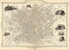 Antique Manchester England decorative map Tallis 31,5 x 23,6 inch canvas