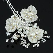 Bridal Wedding Bridesmaid Ivory Fabric Real Pearl Handmade Hair Clip T1400