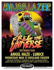 MAJOR LAZER DJ Diplo 2013 Gig POSTER Portland Oregon Concert
