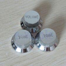 Chrome Guitars Strat Control Knob 1-Volume 2-Tone For Fender Stratocaster TW