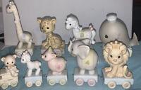 Precious Moments Birthday Train Ages 1, 3-7, 9, 10 & Train Start Baby Bear  9pcs