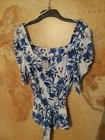💥Brand New River Island Blue/white Floral Top/blouse Size 12