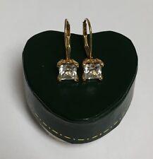 ❤ 1.5CT 14K GOLD CZ CUSTOM ANTIQUE FILIGREE SCROLL CZ STUD LEVER BACK EARRINGS ❤