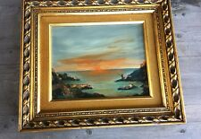 Superb Vintage Oil Painting Coastal Scene Fisherman Sunset – Signed