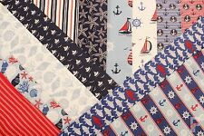 100% COTTON PRINT FABRIC - DAYS BY THE SEA - BOATS/FISH/SHELLS/ANCHORS & STRIPES