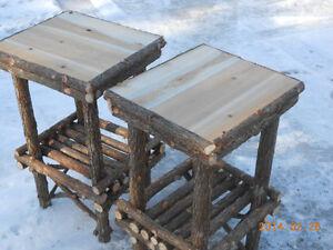 Twig Furniture,Log Furniture,Rustic Cedar,Log End Tables,Set of Two