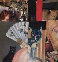 "VTG Cat Art Print Lot 6x Antique Painting Repro Offset Litho Bookplates 9"" x 11"""