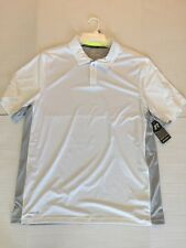 Nwt Russell Athletic Men Sz 2Xl Polo Golf Training Fit White Gray Dry Power 360