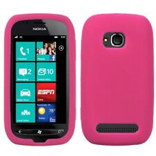 Hot Pink Solid Silicone Skin Cover Case for Nokia Lumia 710