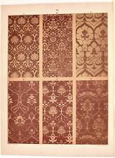 Stampa antica DECORAZIONI TESSUTI STOFFE Tav 114 fiori 1883 Old antique print